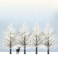 冬 雪 バックグラウンド Holiday background with snowy trees and reindeer