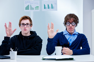 two very nerd brains office workers