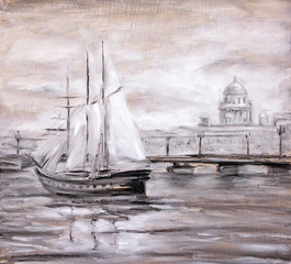 Sailing boat near city. Oil painting.
