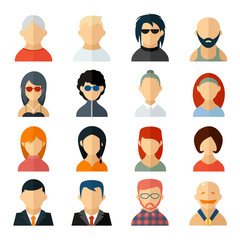 Set of user avatar icons in flat style