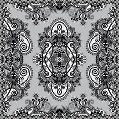 grey ornamental floral paisley bandanna.