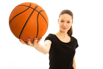 Young woman with basketball