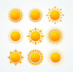 Vector Set of glossy sun icon set