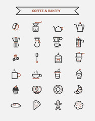 set of coffee and bakery line icons