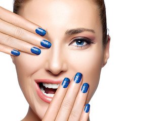 Happy People. Beautiful Girl Laughing. Nail Art and Makeup