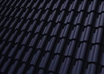 blauwe pannen op het dak