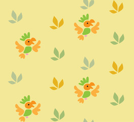 Seamless pattern with funny parrots.