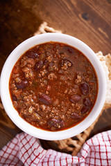 bowl of chili shot overhead