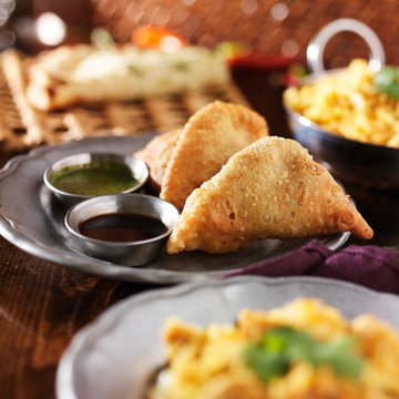 indian samosa with mint and hot chutney