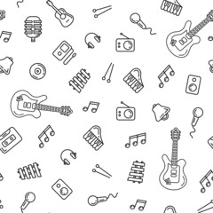 Music icons seamless pattern