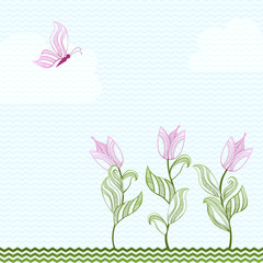 Card With Decorative Tulips And Butterfly
