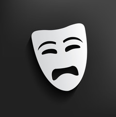 Sad mask symbol on dark background,clean vector