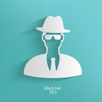 Black hat seo symbol on blue background,clean vector