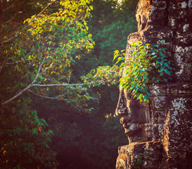 Fototapete - Face of Bayon temple, Angkor, Cambodia