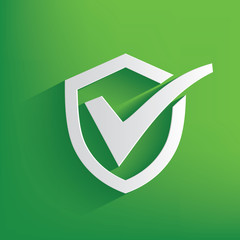Check mark symbol on green background,clean vector