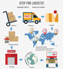 Step for logistic & transport on white background