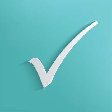 Check mark symbol on blue background,clean vector
