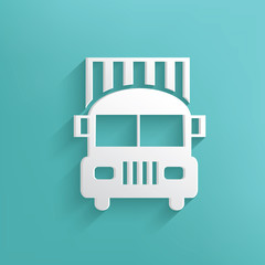 Truck symbol on blue background,clean vector