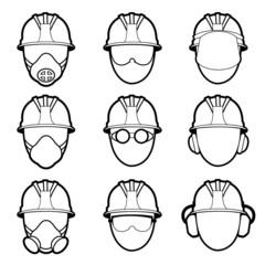 human protective work wear icon set