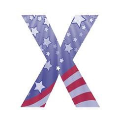 american flag letter X