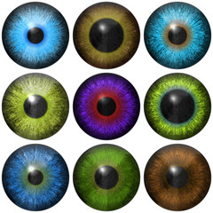 Set of eye iris generated textures