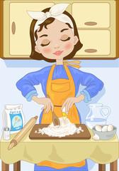 Casalinga che Impasta la Sfoglia-Fresh Pasta