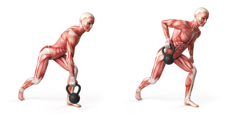 kettlebell exercise - one arm row