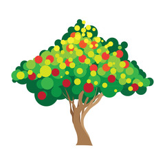 Apple tree. Vector illustration on white background.