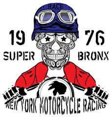 Skull Motorcycle New york Racing Man T shirt Graphic Design
