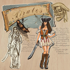 Pirates - Women. Hand drawn and Mixed media