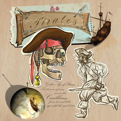 Pirates - Golden Age. Hand drawn and Mixed media