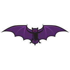 Halloween cartoon bat isolated on white.