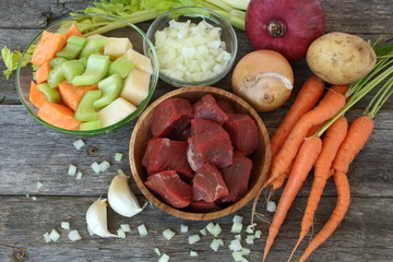 Raw ingredients to prepare a stew