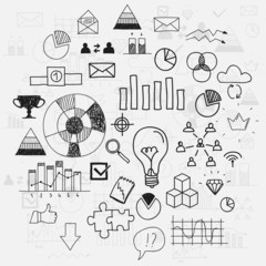 Hand draw doodle elements business scetches Concept infographic