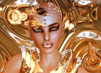 Futuristic Robot Girl,Gold