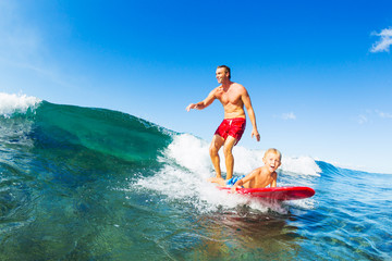 Wall Mural - Father and Son Surfing, Riding Wave Together