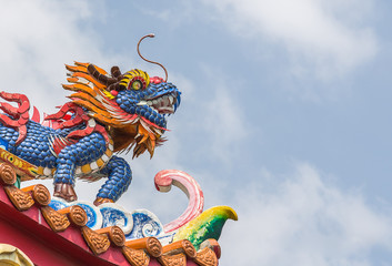 Qilin decoration on Chinese temple roof