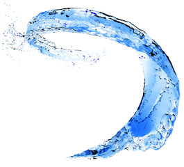 Abstract blue water splash. Flying Liquid