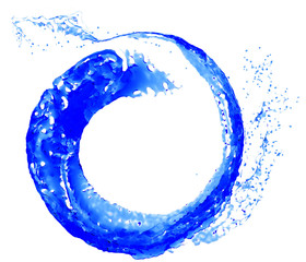 Abstract blue water splash. Flying Liquid