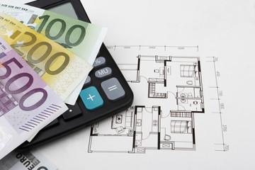 real estate concept with Euros (EUR)