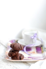 Chocolate cookies, selective focus