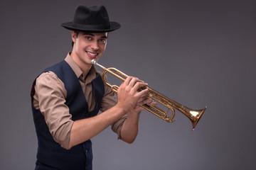 Fotobehang Muziekband Handsome young jazz man