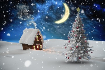 Composite image of christmas tree and house