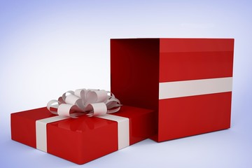 Composite image of red and white gift box