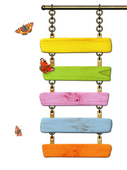 Fototapete - Wooden signboard and butterflies