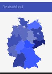 Karte Deutschland inkl. Bundesländer | Blau