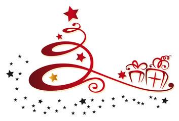 Abstrakter Weihnachtsbaum mit Geschenken und Sternen.