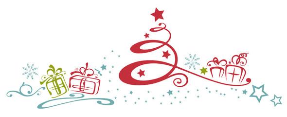 Abstrakter Weihnachtsbaum mit Geschenken und Sternen. Bunt.