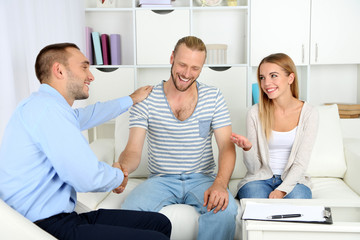 Young couple after therapy session with family psychologist