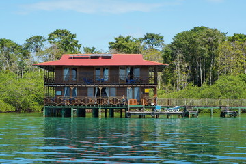 Caribbean hotel over water with solar panel Panama